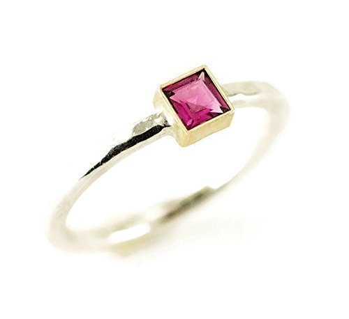 Princess Cut Tourmaline Ring - 14k Gold and Sterling - Created or Genuine Square Gemstone Choices ()