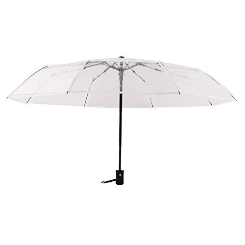 Transparent Automatic Umbrella Diameter 93 cm Three Folding Windproof Sunny and Rainy Umbrellas,White, (Kohls Umbrellas Patio)