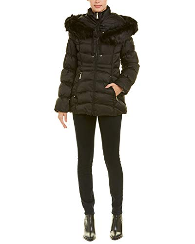 Laundry Quilted Coat (Laundry by Shelli Segal Faux Fur Trim Short Puffer Hooded Jacket Coat (XL))