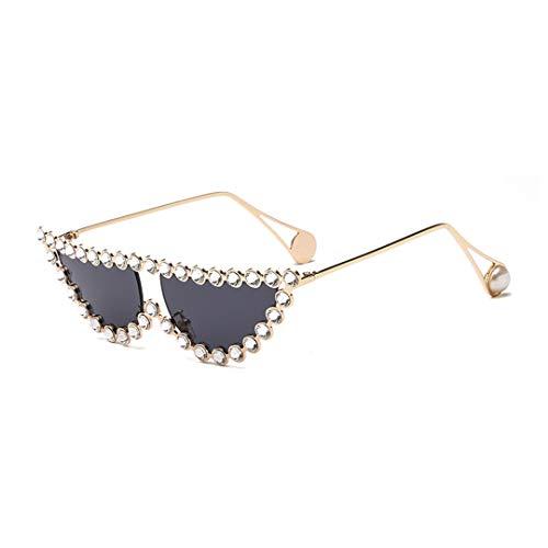 Cats Eye Rhinestone Sunglasses - Naimo Sparkling Crystal Cat Eye Sunglasses UV Protection Metal Frame