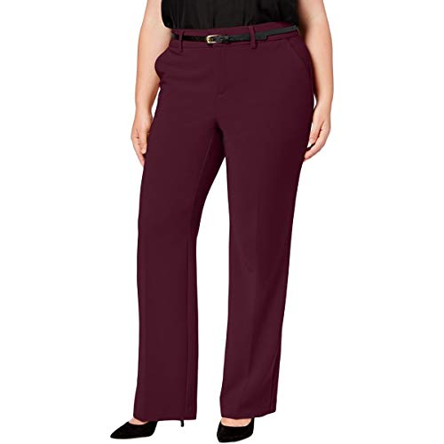 (Charter Club Womens Plus Tummy Slimming Office Wear Dress Pants Purple 24W)