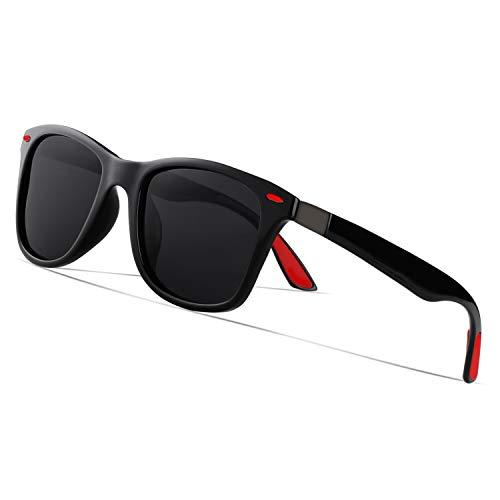 Occffy Polarized Wayfarer Sunglasses for Men Women Retro Classic Mens Womens Stylish Sunglasses (Black frame with black lens)