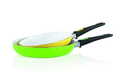 TV unser Original 05296 bratmaxx Keramikpfannen 2-er-Set mit abnehmbaren Griffen, grün / gelb