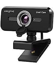 Creative Live! Cam Sync 1080p V2 Full HD USB-webcam met groothoek, automatisch dempen en ruisonderdrukking voor videogesprekken, verbeterde ingebouwde microfoon, privacy lenskap, voor Zoom, Skype