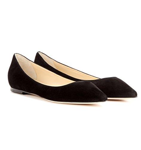 Kolnoo Damen Geschlossene Ballerinas Closed Toe Slipper Flats Schuhe Black