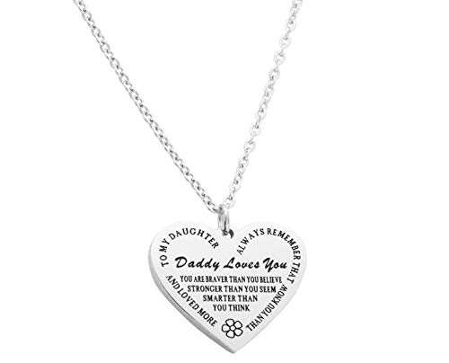 Eilygen Daddy to My Daughter Necklace Daughter Heart Pendant Necklace Inspirational Jewelry Gifts for Daughter from Dad Daughter Gift (Daddy to My Daughter Necklace 1)