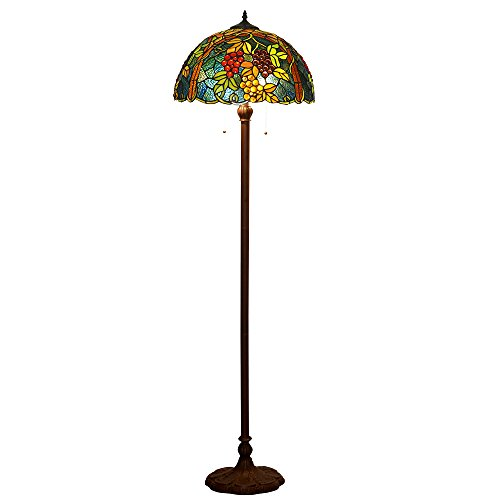 Bieye L10239 Tiffany Style Stained Glass 16-inch Grapes Floor Lamp, 65-inch Tall