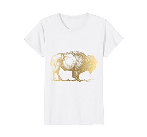 Womens Gold American Buffalo Bison T-Shirt Cool Animal T Shirt Gift Large White