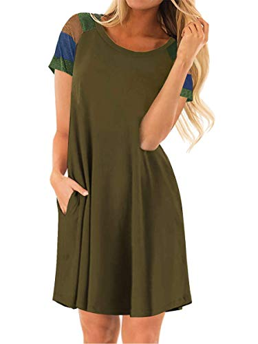 MOPOOGOSS Womens Tee Shirt Dresses with Pocket Mini Dress Plus Size Color Block Striped Short Sleeve Tunic Blouse Dress Amy Green XXL