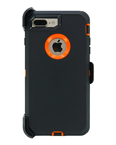 WallSkiN Turtle Series Cases for iPhone 7 Plus/iPhone 8 Plus (Only) Full Body Protection with Kickstand & Holster - Sensation (Black/Orange)