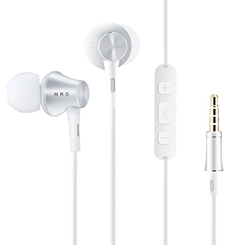 in Ear Headphone with Microphone and Volume Control HD Stereo Earphone Deep Bass Earbuds for iPhone Samsung Apple and Androids Cell Phones Cable Tangle Free White