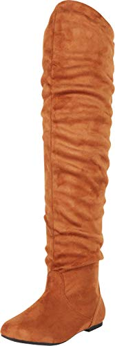 Cambridge Select Women's Closed Toe Slouch Flat Over The Knee Boot,9 B(M) US,Camel IMSU