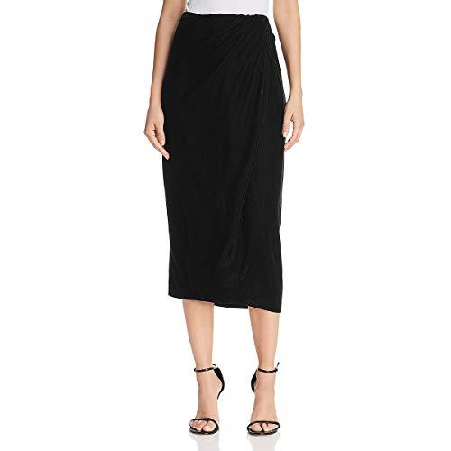 (Donna Karan Womens Velvet Faux Wrap Midi Skirt Black)