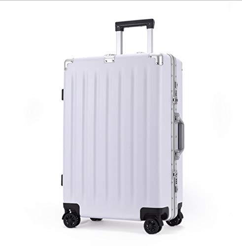 ABS + PCスーツケース21インチ搭乗ユニバーサルホイールトロリー旅行ジッパーボックス (Color : ホワイト, Size : 25) B07QHW56NF ホワイト 25