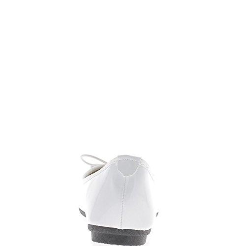 Ballerina bianca dipinta con bordo nodo e tessuto