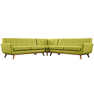 Modern Contemporary L-Shaped Sectional Sofa, Green, Fabric