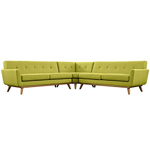 Modern Contemporary L-Shaped Sectional Sofa, Green, Fabric (Mid Century Sectional Sofa)