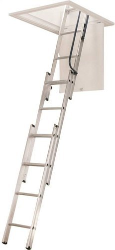 Pull Down Ladder - WERNER LADDER AA1510 AA1510B Ladder Aluminum Attic, 250 lb.