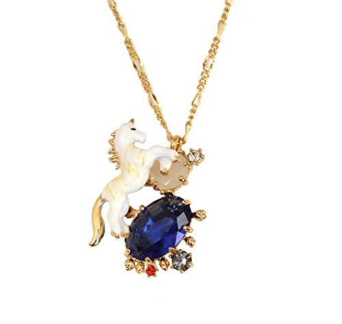 YCC Unicorn White Horse Crystal Necklace Vintage Myth Series with Blue Opal Pendant for Christmas Gift Kids 1 Piece