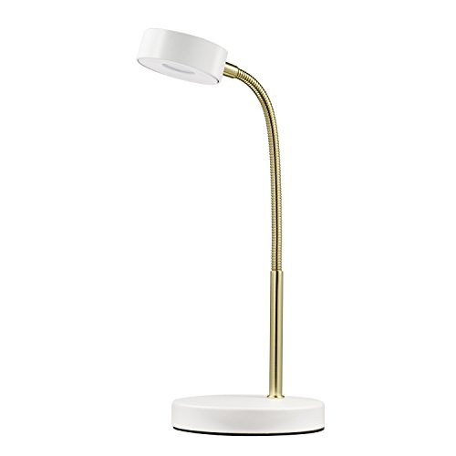 Globe Electric LED Desk Lamp, Matte White and Gold Finish, 5W Energy Star Integrated LED, 250 Lumens, 30088