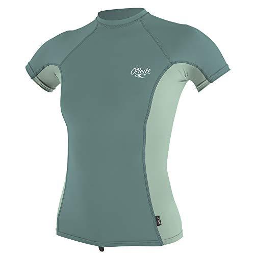 (O'Neill Wetsuits Women's Premium Skins UPF 50+ Rash Guard, Eucalyptus/Fresh Mint, X-Large)