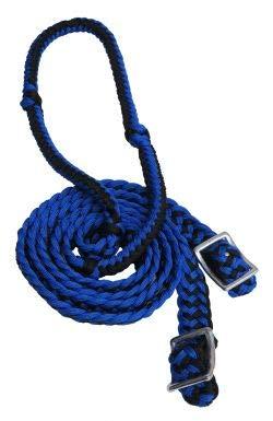 Showman 7' Long Braided Nylon Western Barrel Reins w/Easy Grip Knots! New Horse TACK! (Blue/Black)