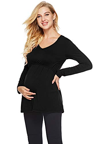 WOAIVOOU Women's Long Sleeve Maternity Nursing Tee Shirt V Neck Loose Double Layer Breastfeeding Top Black L