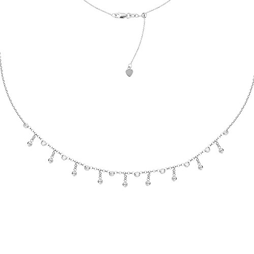 Sterling Silver Rhodium Plated 3mm Cubic Zirconia Fashion Choker Necklace - 16 Inch by JewelryWeb