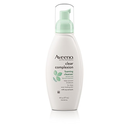 Aveeno Clear Complexion Foaming Oil-Free Facial Cleanser with Salicylic Acid for Breakout Prone Skin, Face Wash with Soy Extracts, Hypoallergenic and Non-Comedogenic, 6 fl. oz, Pack of 3 ()