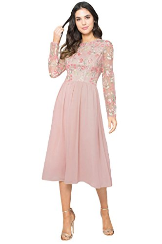 Rosa XL Bee Chi Uk8 16 Nude XS Chi Kleid dXw584nx