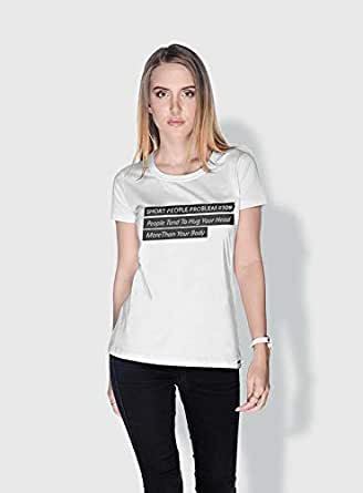 Creo Short People Problem Funny T-Shirts For Women - L, White
