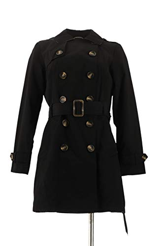 Liz Claiborne NY Double Breasted Trench Coat Black XS New A262943