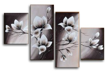 Wieco Art - Elegant Blooming Flowers 4 Panels Modern 100% Hand Painted Floral Oil Paintings Stretched and Framed Artwork on Canvas Wall Art Set Ready to Hang for Living Room Bedroom Home Decor (Grey Framed Art)