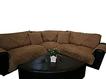 Removable and Adjustable Strap Under The Sofa Cushion OctoRose Waterproof Micro Suede Customised New and Improved Anti-Slip Grip Sofa and Couch Protector Beige, 35x94 Sectional Sofa Cover SSP-WPsud-3594-Beg