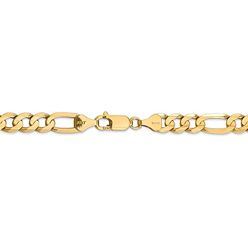 6.75 mm 14k Yellow Gold Concave Open Figaro Chain Ankle Bracelet - 9 Inch