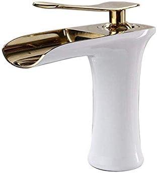 ZY-YY 白とGold_China @流域の蛇口のゴールデンフィニッシュ滝の浴室の蛇口ソリッドブラスホット&コールド盆地クレーンタップシンクミキサータップ洗面台