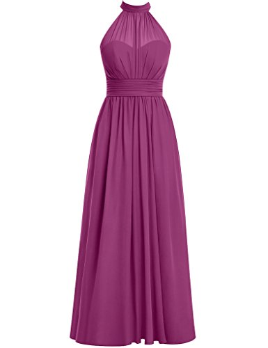 (Cdress Halter Long Bridesmaid Dresses Chiffon Split Side Prom Dress Evening Formal Gowns US 10)