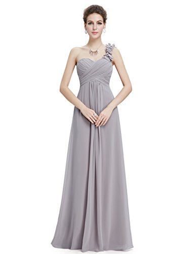 Ever-Pretty Juniors One Shoulder Flower Long Prom Dress 4 US Grey