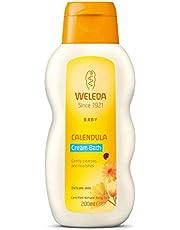 WELEDA Baby Calendula Crèmebad, voedende natuurlijke cosmetica, reiniging voor droge en gevoelige babyhuid, zonder oppervlakteactieve stoffen voor baby's en peuters (1 x 200 ml)