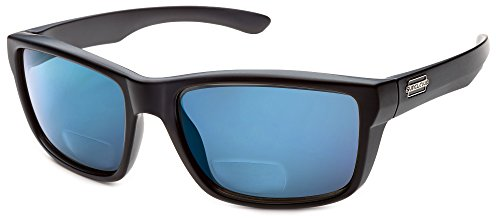 Suncloud Mayor Polarized Bi-Focal Reading Sunglasses in Matte-Black w/ Blue Mirror Lens - Suncloud Mayor Sunglasses