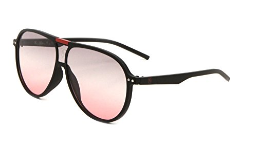 (Khan Retro Turbo Oversized Flat Top Aviator Sunglasses (Black & Red Frame, Grey Red Gradient))