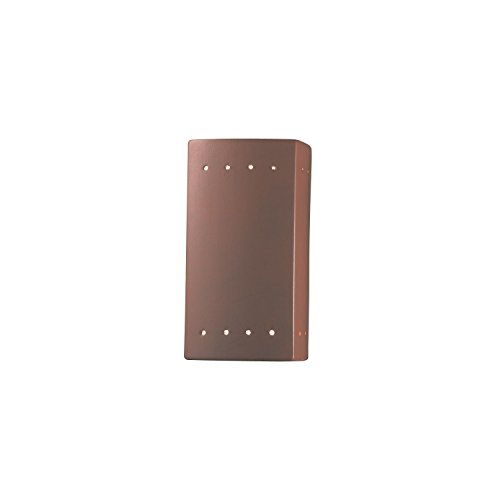 Justice Design Group Ambiance Terra Cotta Outdoor Small Rectangle with Perfs Wall Sconce (Cotta Wall Fixtures Terra)