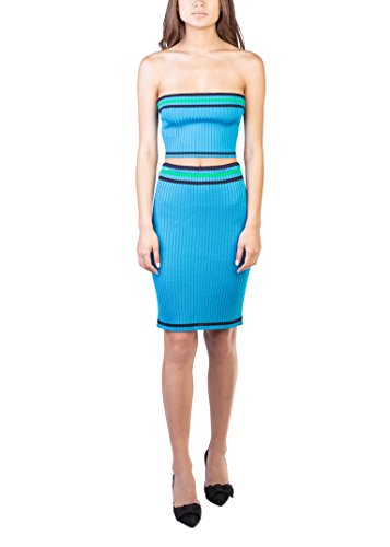 Prada Women's Knitted Striped Tube Top Skirt Set Aqua - Miu Miu Prada