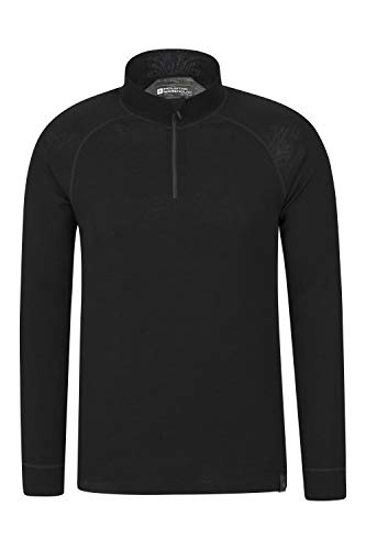 Mountain Warehouse Merino Langarm Baselayer-Thermotop für Herren - Atmungsaktives T-Shirt, Halbreißverschluss, bequemes T-Shirt - Ideal zum Campen Winter Baselayer