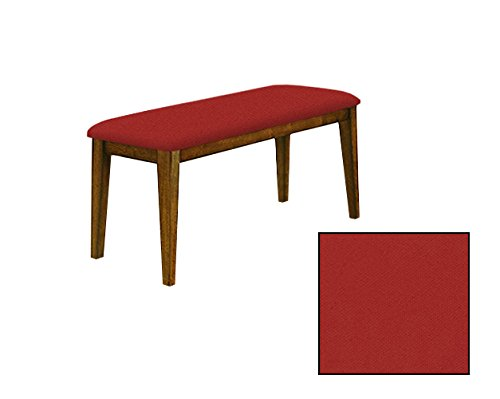 "Oak Finish 19"" Tall Universal Bench Featuring a Padded Seat Cushion With Your Choice of a Colored Canvas Covered Seat Cushion (Red)"