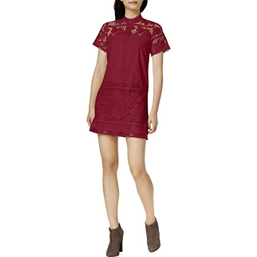 kensie Women's Striped Floral Lace Dress, Deep Red, L from kensie