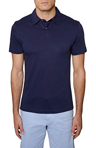 Hickey Freeman Silver Men's Regular Fit Short Sleeve Polo, Navy, Large