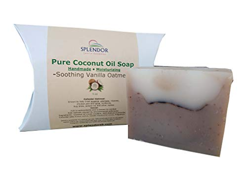 Soothing Vanilla Oatmeal (5 oz) - Pure Coconut Oil Soap. Handmade, Vegan, Moisturizing, With Colloidal Oats and Antioxidant-Rich Cocoa.