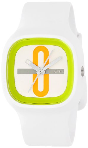 Alessi Kaj Watch (Alessi Men's AL10021 Kaj Polyurethane White with Decoration Orange Designed by Karim Rashid Watch )