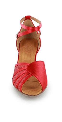 Tda Mujeres Dance Performance 601801 Mediados De Tacón Satén Salsa Tango Ballroom Latin Zapatos Red